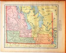 Beautiful Original 1899 Manitoba Large Color Map/10x14