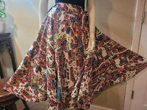 Vintage 1950s Mexican Circle Skirt Hand Printed Mexico Fifth Avenue OOAK Couture