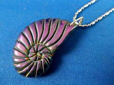 Titanium Pyrite Carved stone SHELL design PENDANT, .925 sterling bail, SP chain