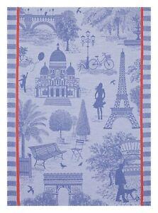 """Jacquard Francais """"Paris sur Toile"""" (Purple), Woven cotton tea towel. France."""