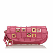 Pre-Loved Dior Pink Satin Fabric 61 Clutch Bag Italy