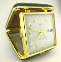 Vintage ELGIN day & date mechanical travel ALARM CLOCK, glow in dark. Brown case