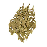 6pcs Retro Bronze Filigree Leaf Feather Pendant for Jewelry Charms Crafts