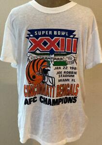 Cincinnati Bengals T Shirt Super Bowl XXIII Vintage 80's Unisex White Cotton Tee