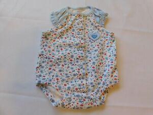 Carter's Baby Girl's Short Sleeve One Piece Bodysuit Size Newborn White Blue GUC