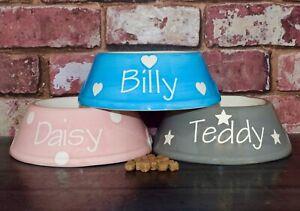 medium slanted dog bowl hand painted personalised ceramic dog dish dog feeder