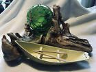 VINTAGE NAUTICAL ARTWORK ON DRIFTWOOD WITH GLASS FLOAT & DORY