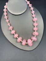 """Womens silver pink  1970's Lucite Statement Graduated beaded necklace  16"""""""
