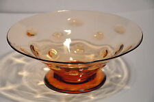 "THOMAS WEBB OLD ENGLISH BULLSEYE GOLDEN AMBER ART GLASS 9.5"" BOWL C1950'S"