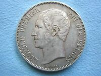 "BELGIUM 5 francs 1865 good VF/XF Silver Dot after ""F"", No overdate SCARCE"