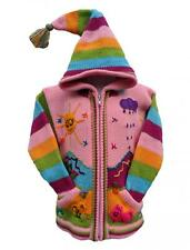 Kids Children/'s laine d/'Alpaga Cardigan Veste Manteau Pixie Capuche Appliques Hiver Chaud