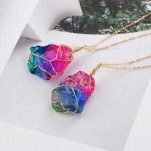 Natural Rainbow Stone Crystal Chakra Rock Chain Quartz Pendant Necklace Chic