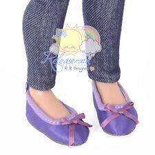 "Matte Satin Ribbon Ballet Pumps Shoes Purple for 14"" Kish/17"" Goodreau BJD dolls"