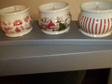 SET OF 3 CHRISTMAS CANDLES CERAMIC CHRISTMAS CANDLE HOLDERS VANILLA  NEW