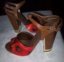 Sam Edelman Odetta Red Hot Saddle Strappy Heels Sandals Floral  Shoes 9.5