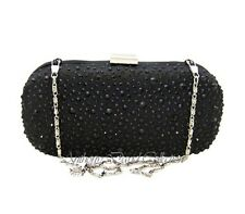 Ladies Black Satin Silver Metal Crystal Clutch Purse Handbag Evening Bag - ADG12