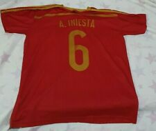 Spain 2010 Home Soccer Shirt Jersey # Andres Iniesta