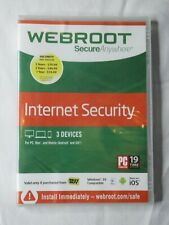 Webroot Secure Anywhere Internet Security (3 Devices) Factory Sealed PC Mac