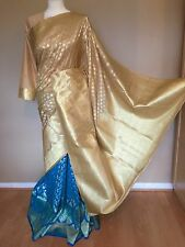 Belle Banarasi Silk Indian Saree Sari avec manches longues chemisier + jupon