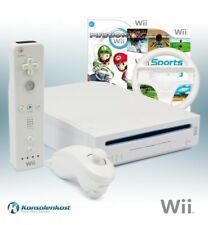 Wii - Konsole #weiß + Mario Kart + Wii Sports + Original Remote + Lenkrad + Zub.