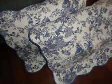 FRENCH COUNTRY BLUE FLORAL ROSES SCALLOPED (2) STANDARD PILLOW SHAMS 20 X 26