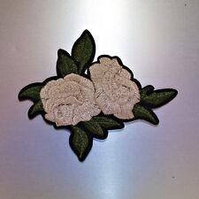 Grey Rose Patch — Iron On Badge Embroidered Motif — Flower Flowers Gray Applique