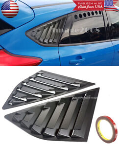Satin Black Window Cover Louver Scoop Vent For 12-18 Focus ST RS MK3 Hatchback