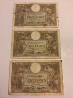 Lot Of 3 X France Banknotes. 100 Francs. Dated 1931. French Vintage Notes.