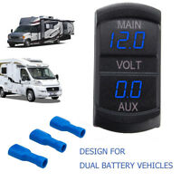 12/24V Doppel Voltmeter Manometer Blaue LED Digital Panel Batterie+3 Terminals