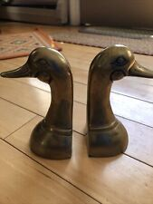 Vintage 🦆 Brass Duck Geese 1970s Heavy Book Ends Shiny Loaded Head