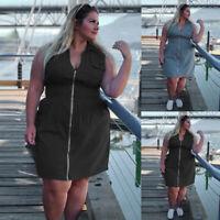 Plus  Womens Summer Sleeveless Zip Up Casual Denim Dress Mini Jeans Dress Dresse