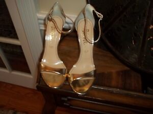 New Jerome Rousseau Gold Leather Stiletto High Heel Shoes 7.5M