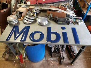 """Original Porcelain Mobil Gas Station Sign Letters 18"""" Vintage 1930s 1940s 1950s"""