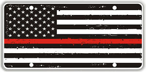 Thin Red Line over Tatter Background Black & White Flag Souvenir License Plate