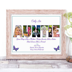 Personalised AUNTIE Photo Collage Word Art Print Birthday Mother's Day Gift A4