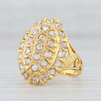 New 1.25ctw Diamond Cocktail Ring 18k Yellow Gold Size 7.25 Cluster