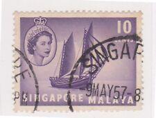 (K65-90) 1955 Singapore 10c lilac timber TONG KONG (N)