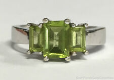 Estate Jewelry Ladies Peridot Ring 10K White Gold Band Size 7