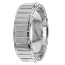 Rectangle Pattern & Step Edge Men's Wedding Band 7 mm 10K Gold Wedding Ring