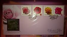 Royal Selangor Pewter Stamp FDC - 2003 Valentine Gift Malaysia Roses Ros