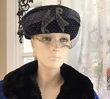 Ladies Vintage Hat With Satin And Beadwork Navy Blue 1940's