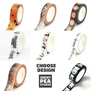 Halloween Washi Tape - Choose Design - Crafts Stationery Gold Silver Foil Paper