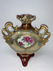 Japanese Three Sided Porcelain Moriage Vase Gold Floral Hand Painted 8 X 7'