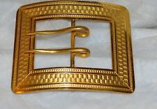 SWEET Antique BUCKLE PIN Sash Belt  Yellow Gold Etched   Victorian LARGE