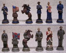 "Chess Set with Glass Board American Civil War NEW 3 1/2"" Kings in color"