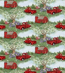 Country Fabric - Susan Winget Red Pickup Truck & Barn Scene - Springs YARD