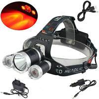 Rechargeable 6000lm White&Red XM-L T6+2R2 LED USB Headlamp Torch 18650 Charger