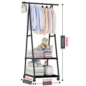 Adjustable Rolling Garment Rack Heavy Duty Clothes Hanger w/ Shoe Rack Portable