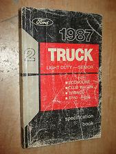1987 FORD TRUCK SPECIFICATIONS MANUAL ORIGINAL BOOK F150 F250 SUPER DUTY & MORE