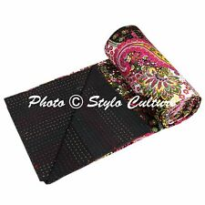 Indian Quilt Blanket Twin Cotton Printed Bed Cover Paisley Kantha Quilts